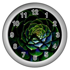 Nature Desktop Flora Color Pattern Wall Clocks (silver)