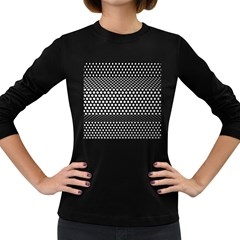 Holes Sheet Grid Metal Women s Long Sleeve Dark T Shirts
