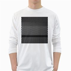Holes Sheet Grid Metal White Long Sleeve T Shirts