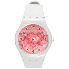 Heart Love Friendly Pattern Round Plastic Sport Watch (m)