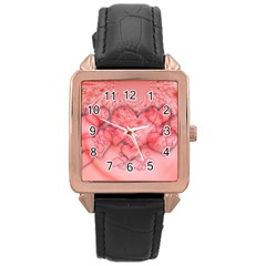 Heart Love Friendly Pattern Rose Gold Leather Watch  by Nexatart