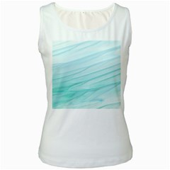 Blue Texture Seawall Ink Wall Painting Women s White Tank Top