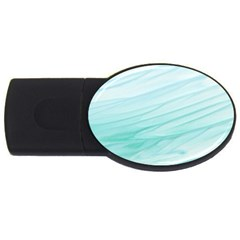 Blue Texture Seawall Ink Wall Painting Usb Flash Drive Oval (4 Gb) by Nexatart