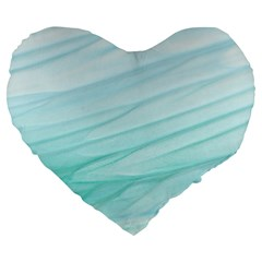 Blue Texture Seawall Ink Wall Painting Large 19  Premium Heart Shape Cushions