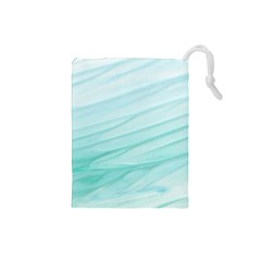 Blue Texture Seawall Ink Wall Painting Drawstring Pouches (small)  by Nexatart