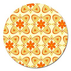 Background Floral Forms Flower Magnet 5  (round)