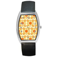 Background Floral Forms Flower Barrel Style Metal Watch by Nexatart