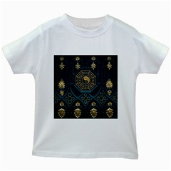 Ying Yang Abstract Asia Asian Background Kids White T Shirts