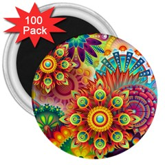 Colorful Abstract Background Colorful 3  Magnets (100 Pack)