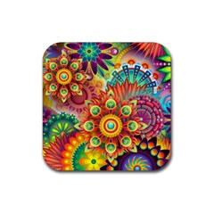 Colorful Abstract Background Colorful Rubber Square Coaster (4 Pack)