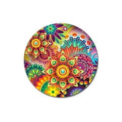 Colorful Abstract Background Colorful Magnet 3  (round) by Nexatart