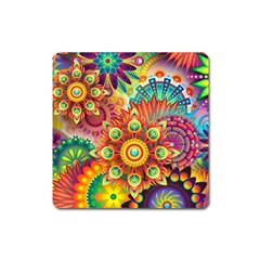 Colorful Abstract Background Colorful Square Magnet by Nexatart