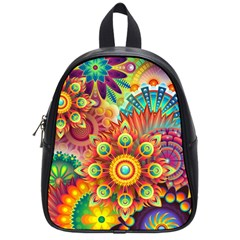 Colorful Abstract Background Colorful School Bag (small)