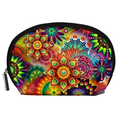 Colorful Abstract Background Colorful Accessory Pouches (large)  by Nexatart