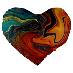 Creativity Abstract Art Large 19  Premium Heart Shape Cushions