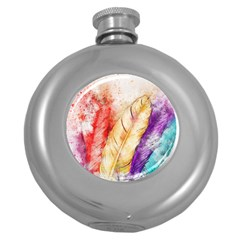 Feathers Bird Animal Art Abstract Round Hip Flask (5 Oz) by Nexatart