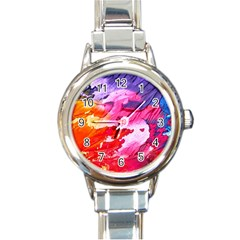 Abstract Art Background Paint Round Italian Charm Watch