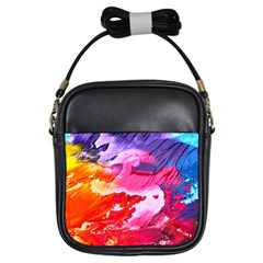 Abstract Art Background Paint Girls Sling Bags by Nexatart