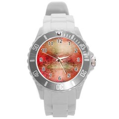Background Art Abstract Watercolor Round Plastic Sport Watch (l)