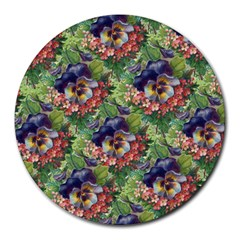 Background Square Flower Vintage Round Mousepads by Nexatart