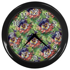 Background Square Flower Vintage Wall Clocks (black) by Nexatart