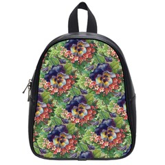 Background Square Flower Vintage School Bag (small)