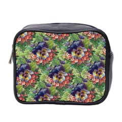 Background Square Flower Vintage Mini Toiletries Bag 2-side