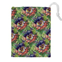 Background Square Flower Vintage Drawstring Pouches (xxl) by Nexatart