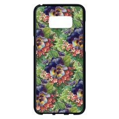 Background Square Flower Vintage Samsung Galaxy S8 Plus Black Seamless Case by Nexatart
