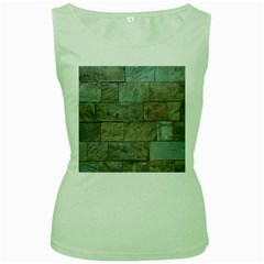Wall Stone Granite Brick Solid Women s Green Tank Top