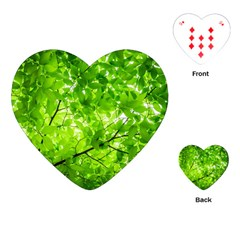 Green Wood The Leaves Twig Leaf Texture Playing Cards (heart)