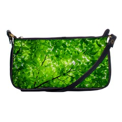 Green Wood The Leaves Twig Leaf Texture Shoulder Clutch Bags by Nexatart