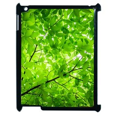 Green Wood The Leaves Twig Leaf Texture Apple Ipad 2 Case (black) by Nexatart