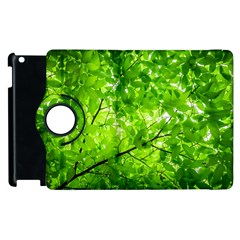 Green Wood The Leaves Twig Leaf Texture Apple Ipad 2 Flip 360 Case by Nexatart