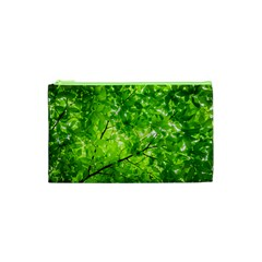 Green Wood The Leaves Twig Leaf Texture Cosmetic Bag (xs) by Nexatart
