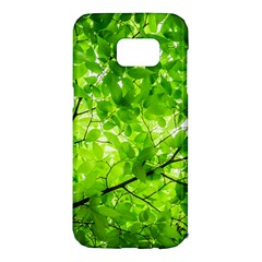 Green Wood The Leaves Twig Leaf Texture Samsung Galaxy S7 Edge Hardshell Case by Nexatart