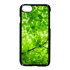 Green Wood The Leaves Twig Leaf Texture Apple Iphone 8 Seamless Case (black)