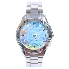 Background Art Abstract Watercolor Stainless Steel Analogue Watch