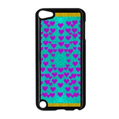 Raining Love And Hearts In The  Wonderful Sky Apple Ipod Touch 5 Case (black) by pepitasart