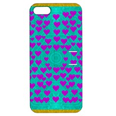 Raining Love And Hearts In The  Wonderful Sky Apple Iphone 5 Hardshell Case With Stand by pepitasart