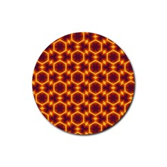 Black And Orange Diamond Pattern Rubber Coaster (round)  by Fractalsandkaleidoscopes