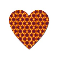 Black And Orange Diamond Pattern Heart Magnet by Fractalsandkaleidoscopes