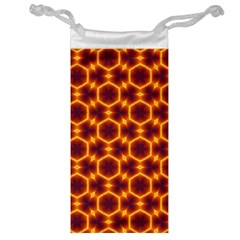 Black And Orange Diamond Pattern Jewelry Bag by Fractalsandkaleidoscopes