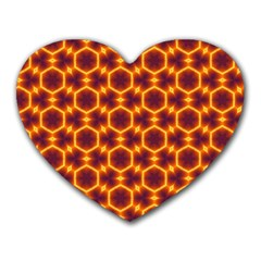Black And Orange Diamond Pattern Heart Mousepads by Fractalsandkaleidoscopes