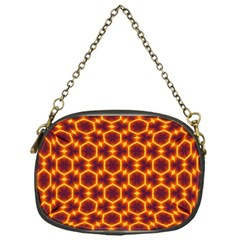 Black And Orange Diamond Pattern Chain Purses (one Side)  by Fractalsandkaleidoscopes