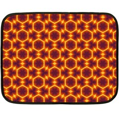 Black And Orange Diamond Pattern Double Sided Fleece Blanket (mini)  by Fractalsandkaleidoscopes