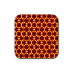 Black And Orange Diamond Pattern Rubber Square Coaster (4 Pack)  by Fractalsandkaleidoscopes