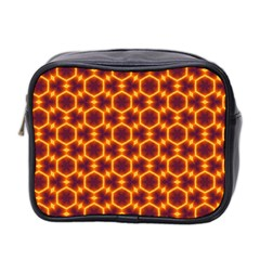 Black And Orange Diamond Pattern Mini Toiletries Bag 2 Side by Fractalsandkaleidoscopes