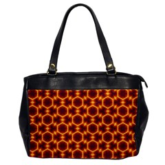 Black And Orange Diamond Pattern Office Handbags by Fractalsandkaleidoscopes