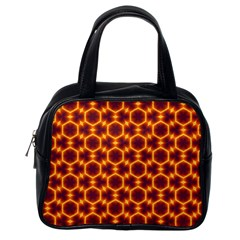 Black And Orange Diamond Pattern Classic Handbags (one Side) by Fractalsandkaleidoscopes